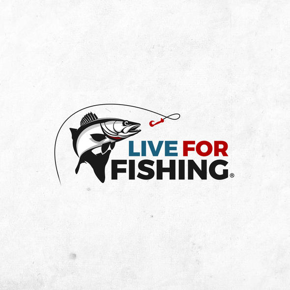 Fishing boat design with the title 'Live For Fishing Logo. '