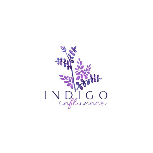 Blue and purple logo with the title 'Logo concept based on the indigo plant'