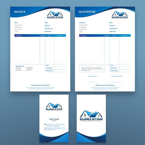 Invoice design with the title 'Stasionery template'