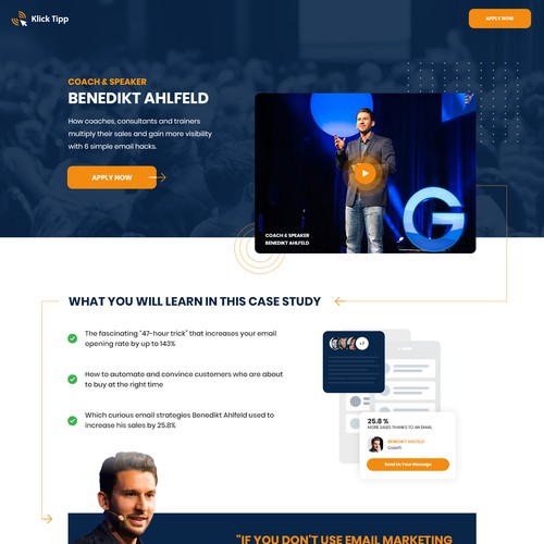 Case study design with the title 'Case study landing page'