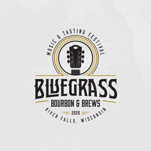 Guitar logo with the title 'Need exciting new logo design for Bluegrass Bourbon & Blues Festival'