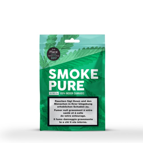 Tobacco packaging with the title 'SMOKE PURE'