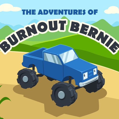 Storybook artwork with the title 'Children Story Book - The Adventures of Burnout Bernie'