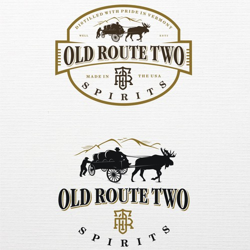 Pencil logo with the title 'Classic & vintage, yet modern logo for Old Route Two Spirits'