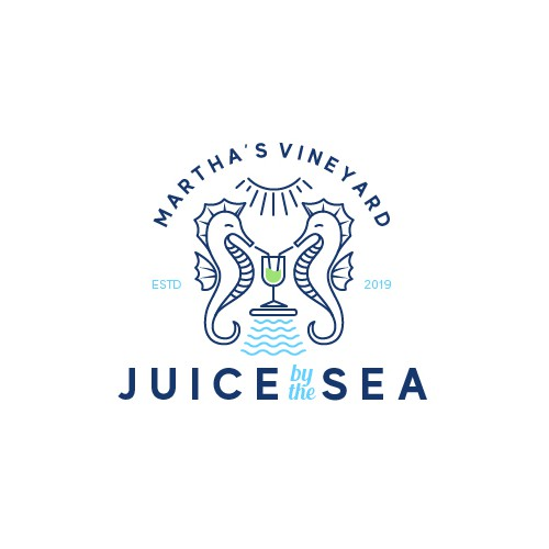Summer logo with the title 'Classic logo for a juice bar by the beach'