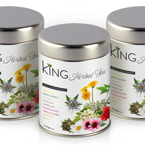 Flower label with the title 'KING Herbal Tea'
