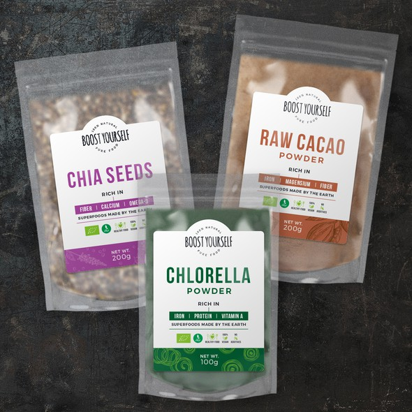 Bag label with the title 'Label for healthy superfood'