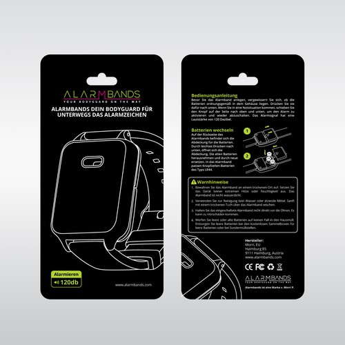 Simple packaging with the title 'Alarm bands'