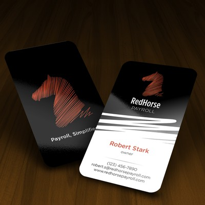 Bold business card for a payroll services firm