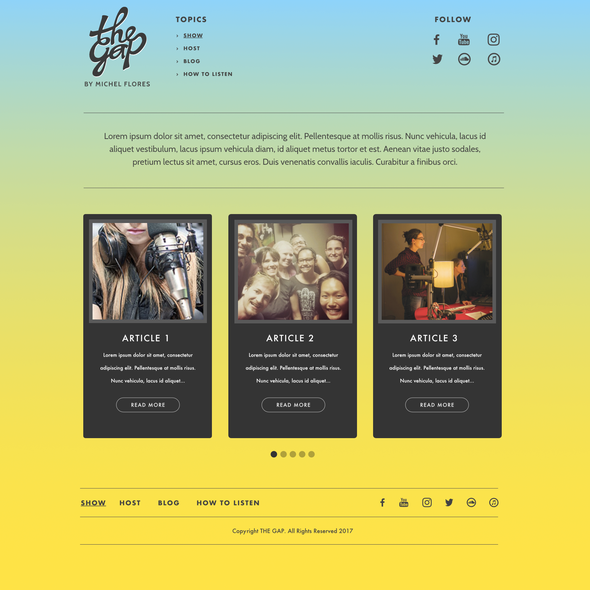 Simplified design with the title 'TheGap Website Design'