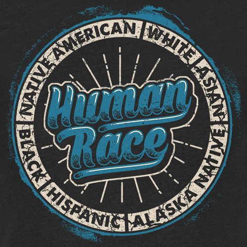 Black t-shirt with the title 'Human Races are Equal T-shirt'