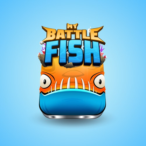 3D logo with the title 'My Battle Fish Logo for Mobile Game'