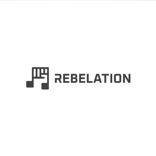 Music note design with the title 'Rebelation Logo For Music Streaming Service'