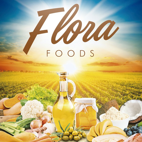 Pumpkin design with the title 'Poster Flora Foods'
