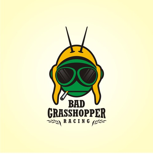 Insect design with the title 'Bad Grasshopper Racing'
