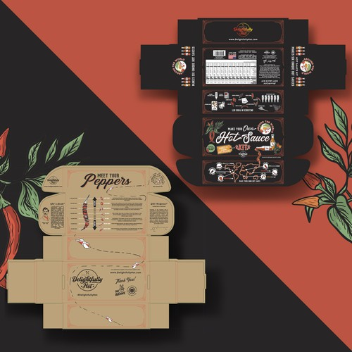 Hot design with the title 'Delightfully hot sauce package design 🌶🌱'