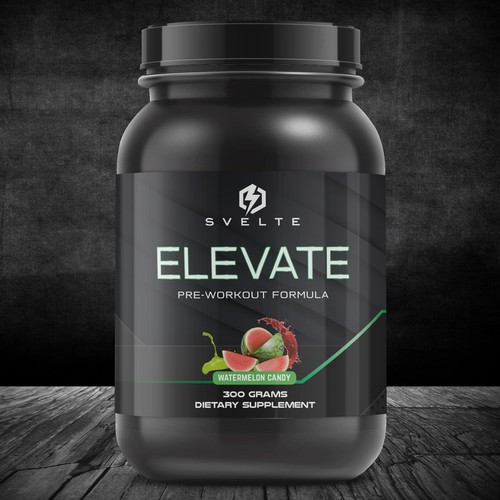 Pre-workout label with the title 'SVELTE ELEVATE PREWORKOUT FORMULA'