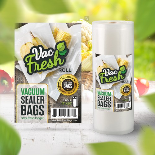 Fresh label with the title 'Vac Fresh Bags'