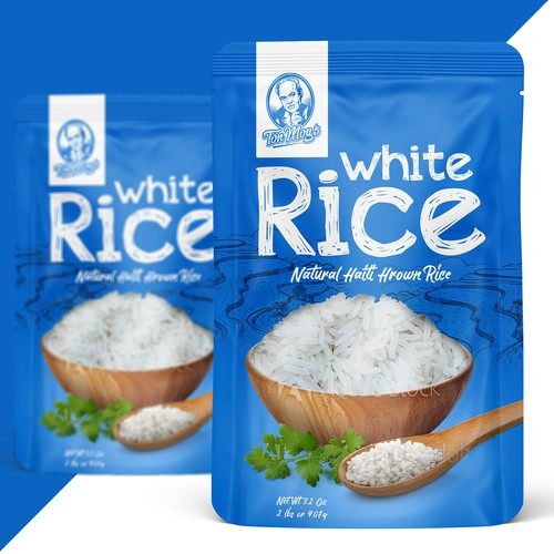 Rice design with the title 'White Rice Pouch'