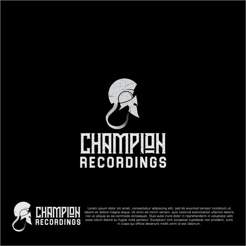 Spartan helmet design with the title 'logo concept for champion recordings'