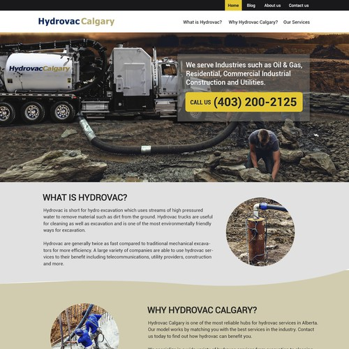 Hydro design with the title 'Website design for Hydrovac Calgary'
