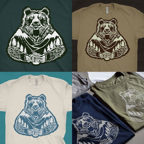 Bear t-shirt with the title 'T-shirt Grizzly-Bear Illustration'