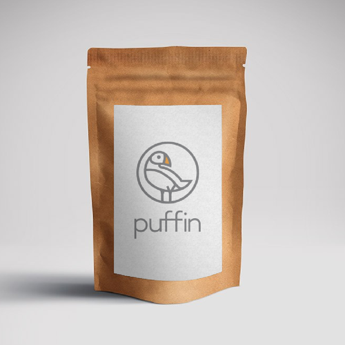 Puffin logo with the title 'Logo concept for Puffin - Coffee filter'