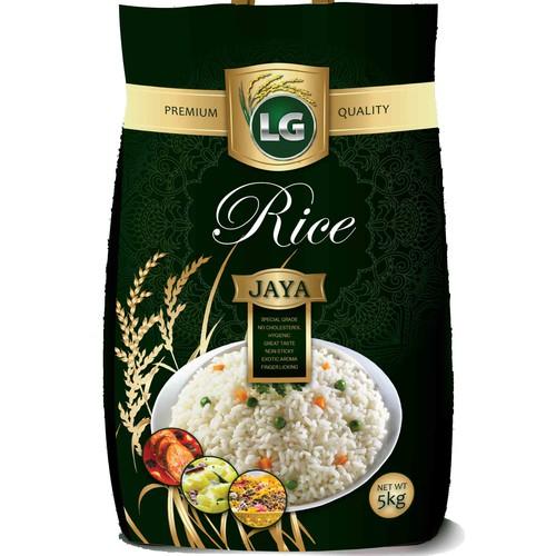 Rice design with the title 'LG PREMIUM Rice Bag 5Kg'