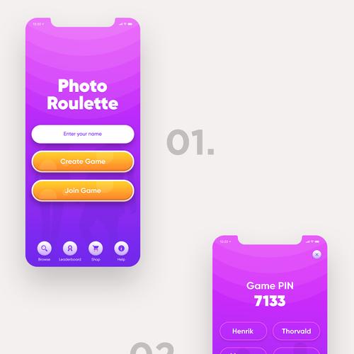 Quiz design with the title 'Photo Roulette App UI design'