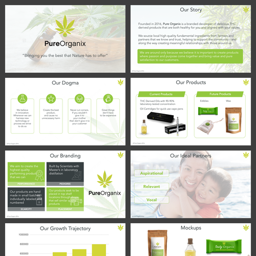Keynote design with the title 'Pitchdeck Design for a Cannabis derived products'