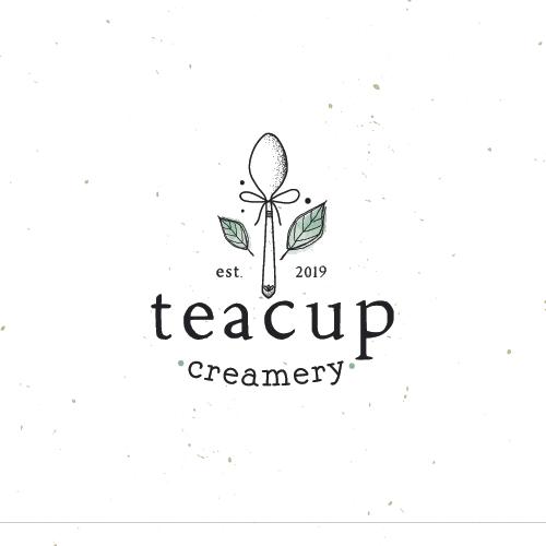 Tea design with the title 'teacup creamery'