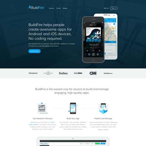 Responsive website with the title 'BuildFire'