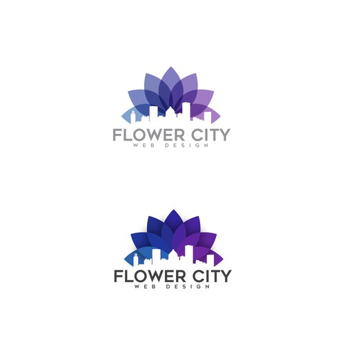 Web design logo with the title 'Flower City Web Design Logo'