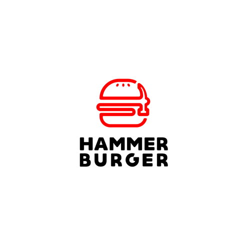 Hamburger design with the title 'bold logo concept hammer burger'