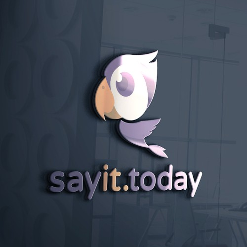 Purple and orange design with the title 'sayit.today'