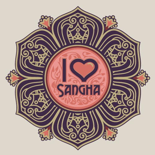 Spiritual design with the title 'Sangha T-shirt design'