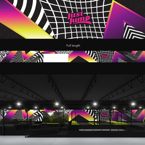 Wall artwork with the title 'Graphic for a Trampoline Park'