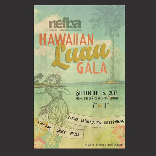 Builder design with the title 'Hawaiian Gala Invitation'