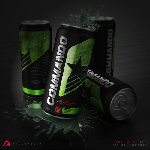 Sports label with the title 'energy drink 3d motion mockups and label design'