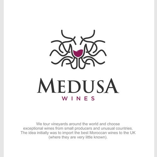 Medusa logo with the title 'Medusa wine'