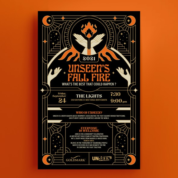 Art Deco design with the title 'Unseen's Fall Fire Poster'