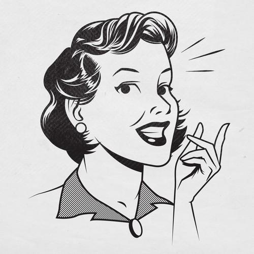 Retro illustration with the title 'retro 50's mom'