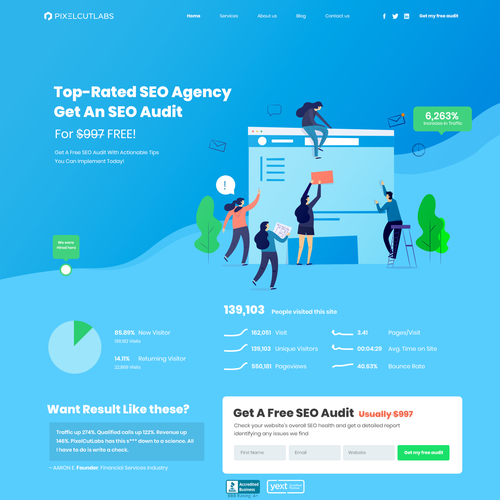 SEO design with the title 'SEO Landing page For marketing website'