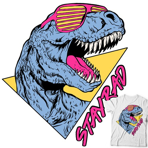 T-rex design with the title 'STAY RAD 90's T-REX'