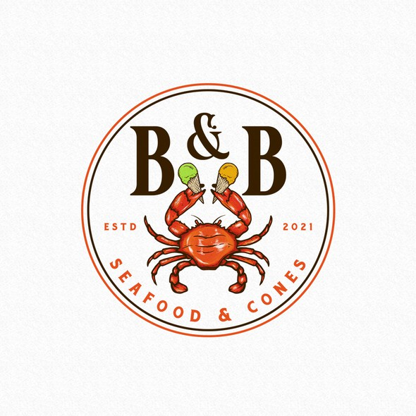 Crab design with the title 'B&B Seafood & Cones'