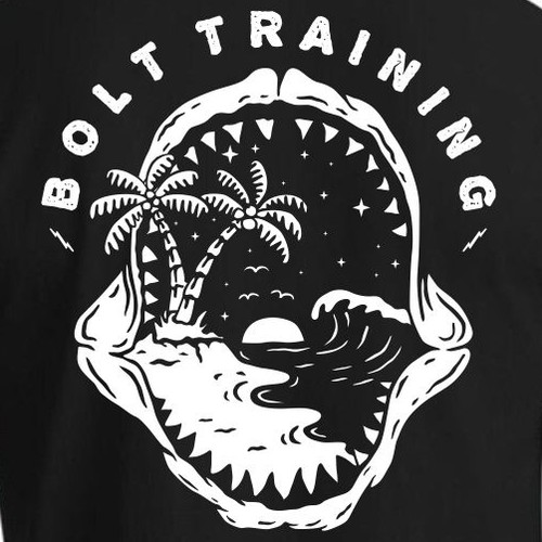 Beach t-shirt with the title 'bolt training'
