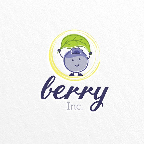 Blueberry logo with the title 'Hand-made logo for Berry Inc.'