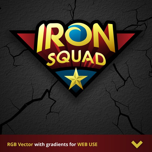 Embroidery logo with the title 'SUPERHERO LOGO for IronSquad - 1st version'