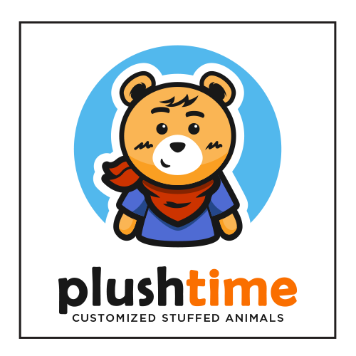 Bear mascot logo with the title 'Plush Time'