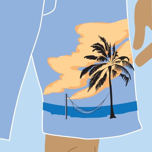 Hammock design with the title 'Bermuda Shorts Print - Hammock on the Beach'